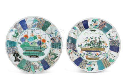 TWO LARGE CHINESE FAMILLE VERTE 'BASKET' DISHES.