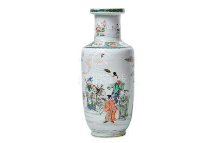 A CHINESE FAMILLE VERTE ROULEAU 'IMMORTALS' VASE.