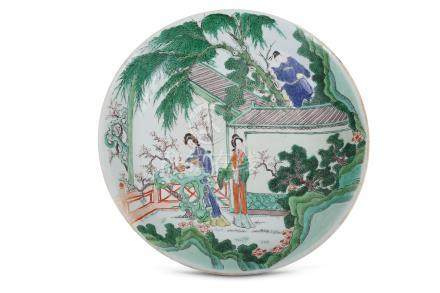 A LARGE CHINESE FAMILLE VERTE 'LOVERS' DISH.