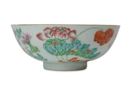 A CHINESE FAMILLE ROSE 'FLOWERS' BOWL.