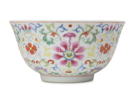 A CHINESE FAMILLE ROSE 'LOTUS' BOWL.