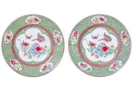 A PAIR OF CHINESE RUBY-BACKED CANTON ENAMEL 'BUTTERFLY' DISHES.