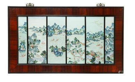 A CHINESE FAMILLE ROSE SIX-PANEL PLAQUE.