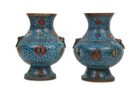 A PAIR OF CHINESE CLOISONNE VASES, HU.