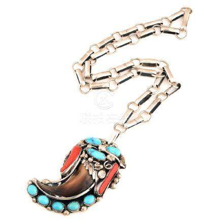 *Native American Claw, Turquoise, Coral, Sterling