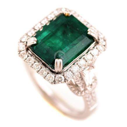 Emerald, Diamond, Platinum Ring.