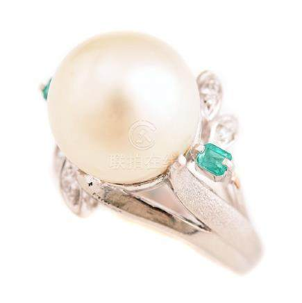 South Sea Cultured Pearl, Diamond, Emerald, Platinum