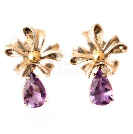 Pair of Tiffany & Co. Amethyst, Sterling Silver, 18k