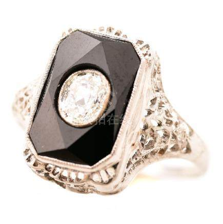 Art Deco Depression Era Diamond, Black Onyx, 18k White