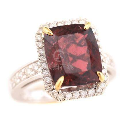 Pink Tourmaline, Diamond, 14k Gold Ring.