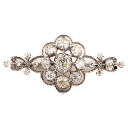 Turn-of-the-Century Diamond, 14k White Gold Brooch.