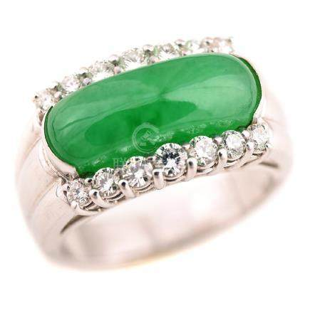 Jadeite Jade, Diamond, 18k White Gold Saddle Ring.