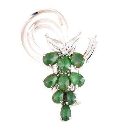 Jade, 14k White Gold Spray Brooch.