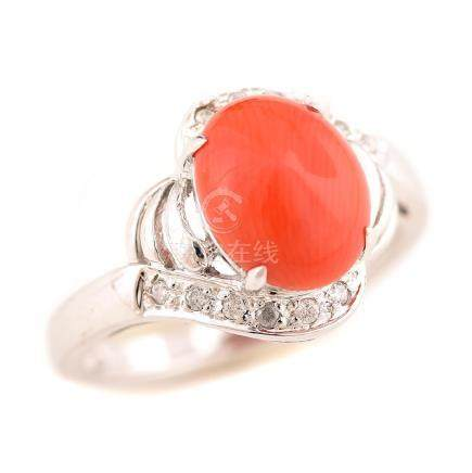 *Coral, Diamond, 14k White Gold Ring.