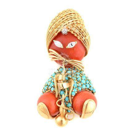 *Dessin Coral, Turquoise, Diamond, 18k Yellow Gold Cat
