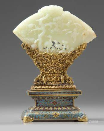 A Chinese pale celadon jade plaque and a cloisonné enamel stand