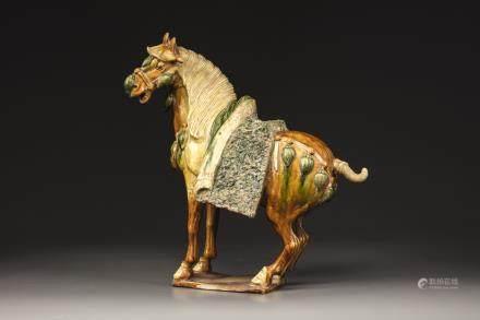 A sancai-glazed pottery figure a caparisoned horse