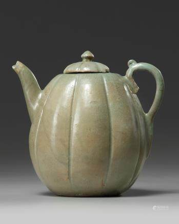 A Korean celadon glazed lobed teapot and cover