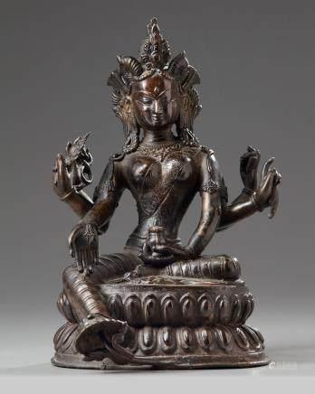 A Nepalese bronze figure of Vasudhara
