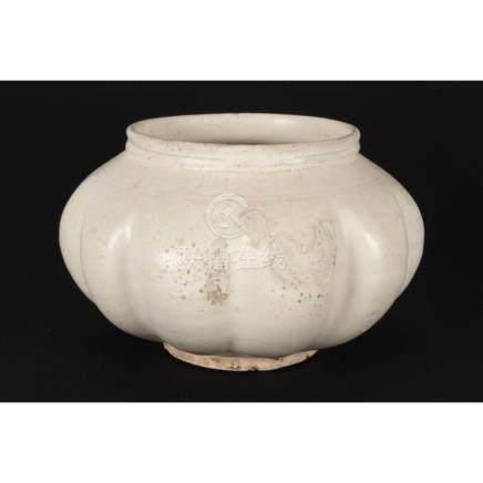 Chinese Song Dynasty (960-1279) White Glazed Squat