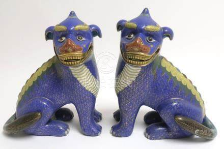 Pair of Cloisonne Foo Dogs