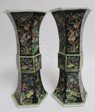 Pair of Chinese Noire Vases
