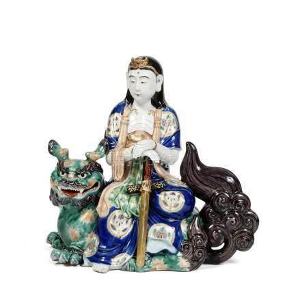 GRANDE STATUETTE DE MONJU BOSATSU (MANJUSRI) en porcelaine d