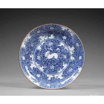 PLAT À PAROI ARRONDIE DE STYLE MING en porcelaine blanc bleu