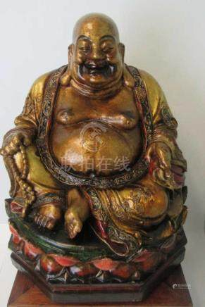 19th-20th Century Chinese Wood Carved Buddha