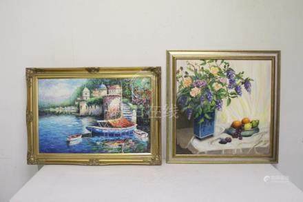 2 oil on canvas paintings