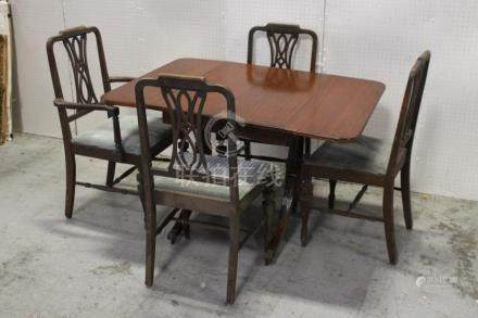 Mahogany drop leaf table with 4 chairs