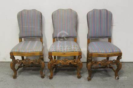 3 Germany 19th century carved side chairs