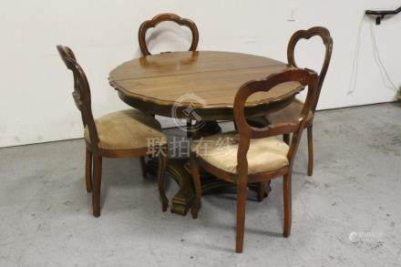 Walnut center round table with 4 balloon back chairs