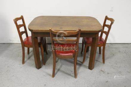 Antique oak table with 3 chairs