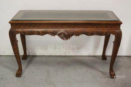 Glass top walnut console table