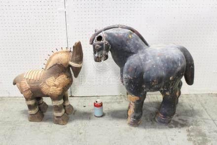 2 large pottery horses