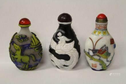 3 overlay Peking glass snuff bottles