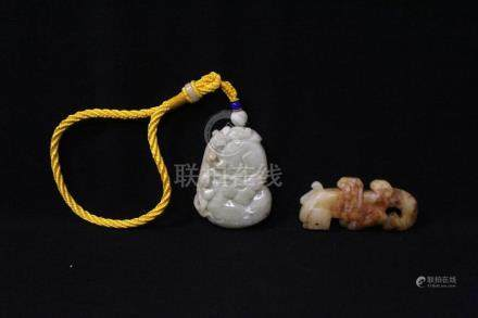 2 Chinese jade carved ornaments