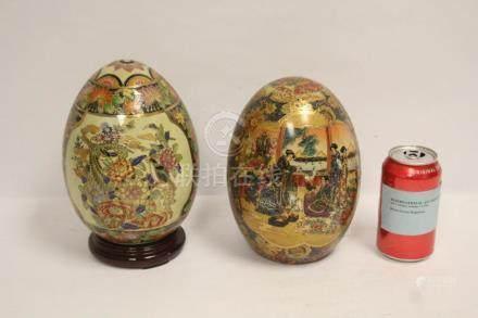 Pair satsuma style porcelain eggs
