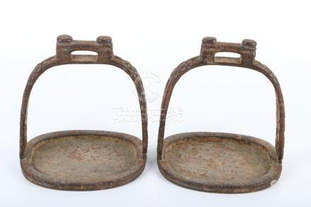 Pair of iron silver gilding holder