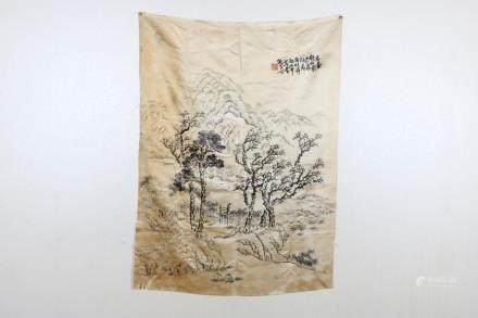 Qing Fengshan Landscape Painting Embroidery