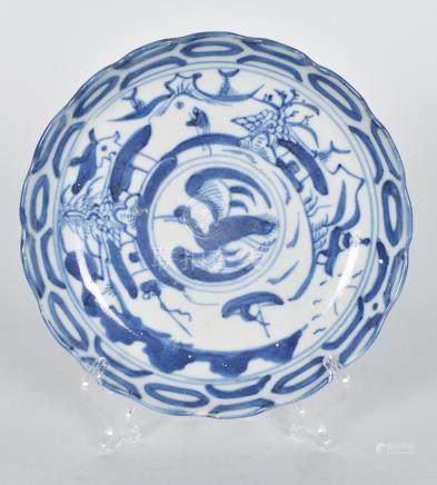 清 青花雲鶴紋花口盤