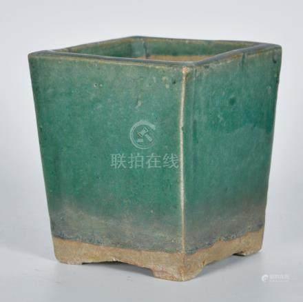 石灣窯綠釉四方花盆