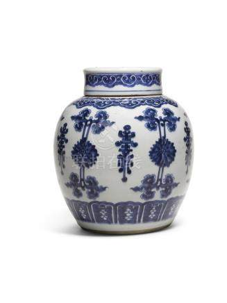 A BLUE AND WHITE JAR AND COVERQING DYNASTY, KANGXI PERIOD