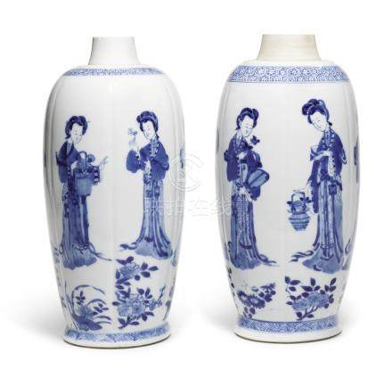 TWO BLUE AND WHITE VASESQING DYNASTY, KANGXI PERIOD