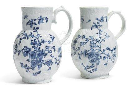 Two Worcester blue and white porcelain 'Dutch' jugs