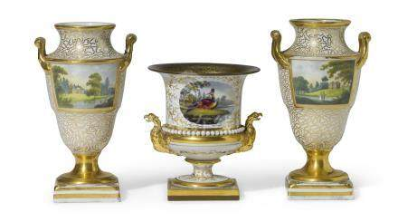 A pair of Chamberlain's Worcester porcelain two-handled vases