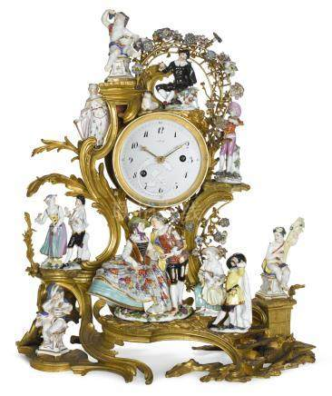A Louis XV gilt-bronze and porcelain mounted mantel clock, circa 1745 and later