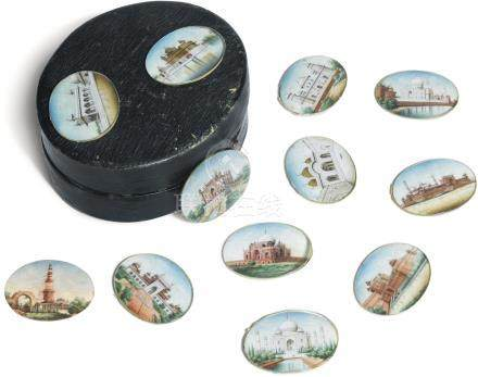 A collection of twelve painted ivory oval miniatures depicting Mughal and other monuments, Company School, India, 19th Century