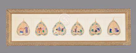 A group of Fifteen Chinese pith paintings on Bodhi or Peepal leaves